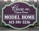 4' x 5' Custom shape cutout with custom border detail painted, cut vinyl graphics for Classic Custom Homes