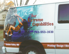 Photo detail of partial wrap, digital print graphics for Minuteman Press