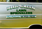 Blue Green Lawn Sprinklers - digital print and cut vinyl