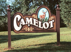 Camelot - 5' x 8' sandblasted cedar monument sign