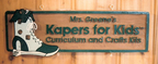 "Kapers for Kids - 18"" x 30"" sandblasted cedar, hand painted interior store sign"