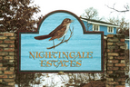 Nightingale Estates - 5' x 8' sandblasted cedar, hand painted development monument sign