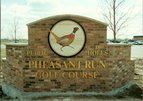 Pheasant Run Golf Course - 4' sandblasted cedar, hand painted circular monument sign