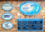 Oneheartland Camp - Sandblasted cedar pool sponsor and identification signs. Viking Pool sign is 3' x 4' sandblasted cedar. Sponsor signs 2' x 2.5' sandblasted cedar