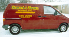 Stewart & Brown - multi-colored cut vinyl graphics. Side view