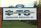 Temperature Specialists, Inc. - 3' x 8' sandblasted cedar monument sign