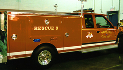Hopkins Fire Dept. Rescue 23k Gold Leaf lettering and striping hand painted mascot pictorial